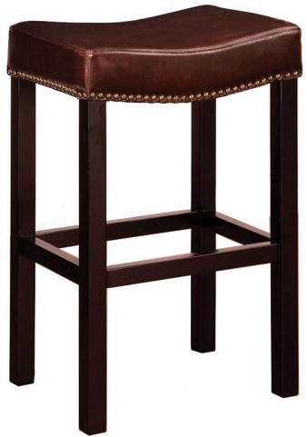 "Tudor 30"" Brown Bonded Leather Stationary Backless Barstool"