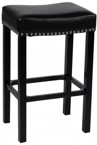 "Tudor 30"" Black Bonded Leather Stool"