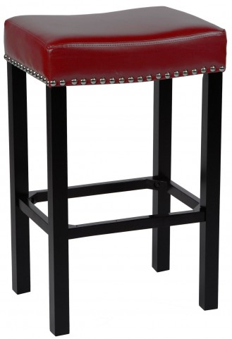 """Tudor 30"""" Red Bonded Leather Stool"""