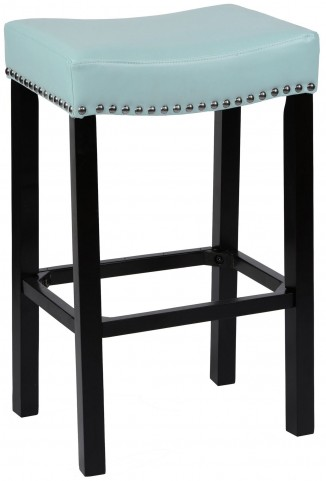 "Tudor 26"" Sky Blue Bonded Leather Stool"