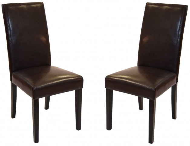 Md-014 Brown Bonded Leather Side Chair Set of 2