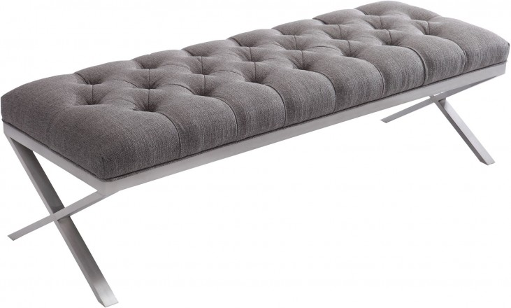 Milo Gray Brushed Steel Bench