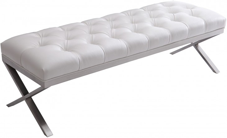 Milo White Brushed Steel Bench