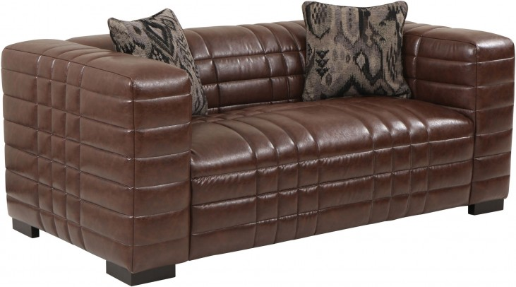Maxton Brown Leather Loveseat