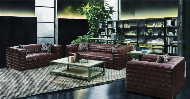 Maxton Brown Leather Living Room Set