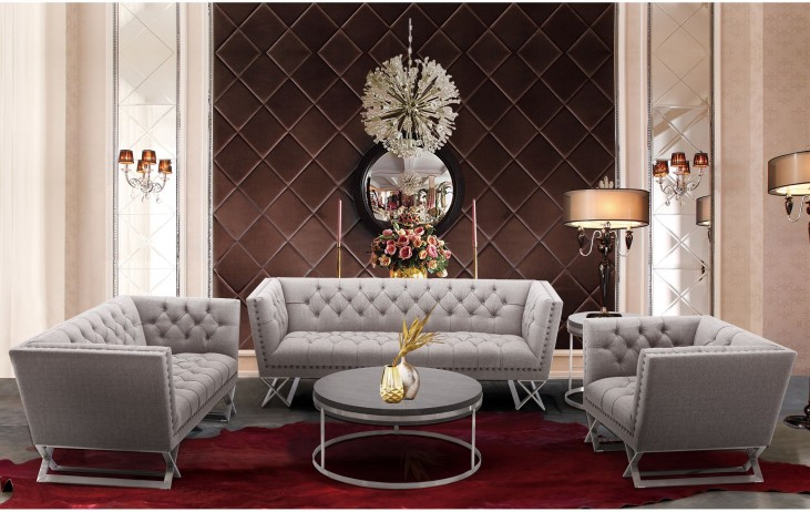 Odyssey Grey Tweed Upholstery Living Room Set