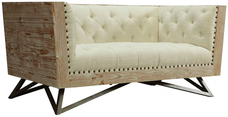Regis Cream Pine Frame Loveseat