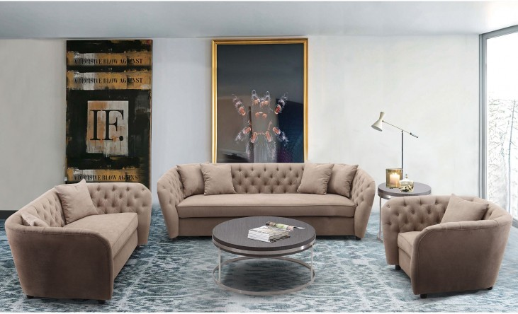 Rhianna Camel Tufted Transitional Living Room Set