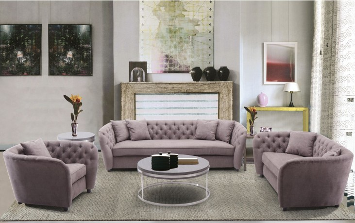 Rhianna Brown Tufted Transitional Living Room Set