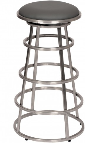 "Ringo 30"" Brushed Stainless Steel Backless Barstool"