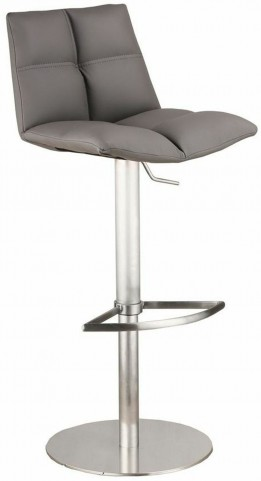Roma Gray Brushed Stainless Steel Adjustable Barstool