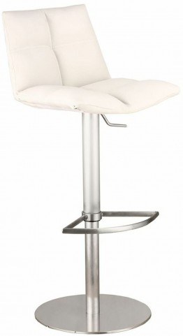 Roma White Brushed Stainless Steel Adjustable Barstool