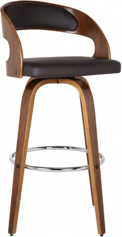 "Shelly 26"" Walnut Wood Brown Barstool"