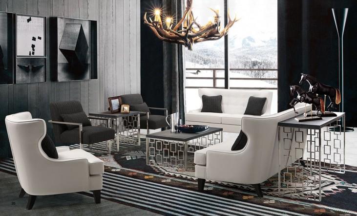 Skyline White Bonded Leather Living Room Set