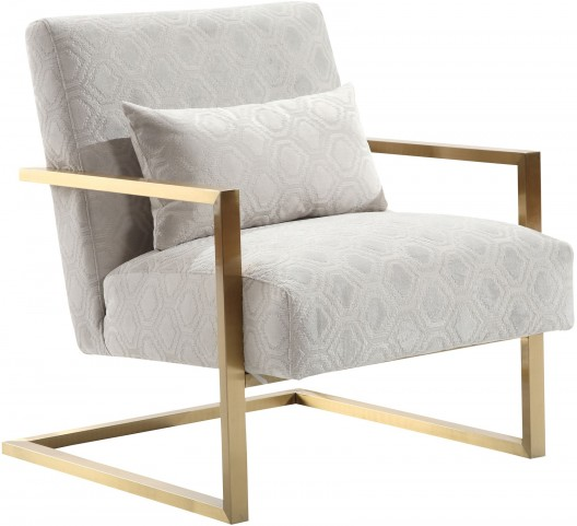 Skyline Modern Cream Chenille and Gold Metal Accent Chair