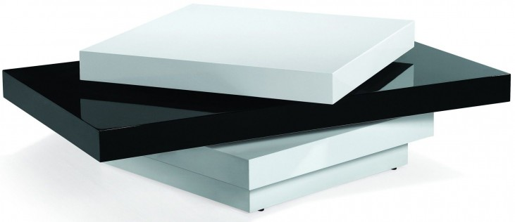 Modern Black and White Swivel Coffee Table