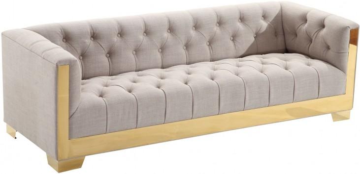 Zinc Taupe Tweed and Shiny Gold Sofa
