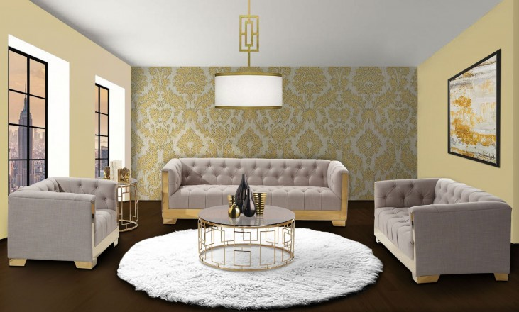 Zinc Taupe Tweed And Shiny Gold Living Room Set