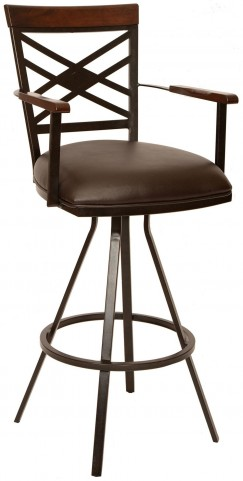 "Zoe 30"" Coffee and Auburn Bay Metal Arm Barstool"