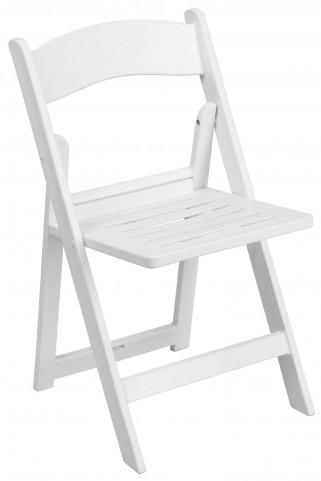 Hercules Series White Resin Slatted Folding Chair