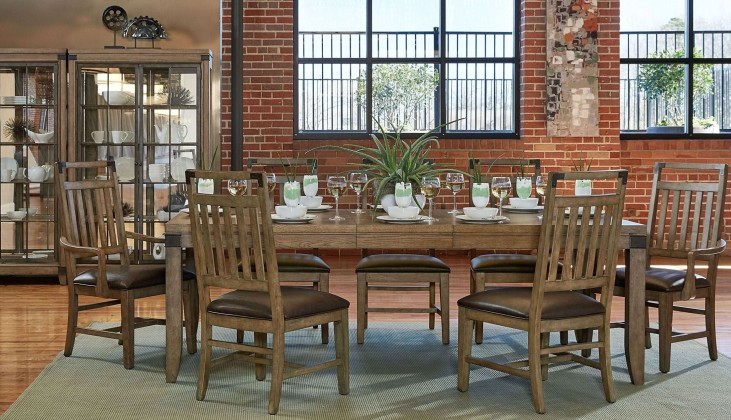 Metalworks Factory Chic Extendable Rectangular Dining Room Set
