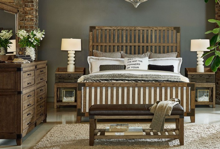 Metalworks Factory Chic Wood Gate Panel Bedroom Set