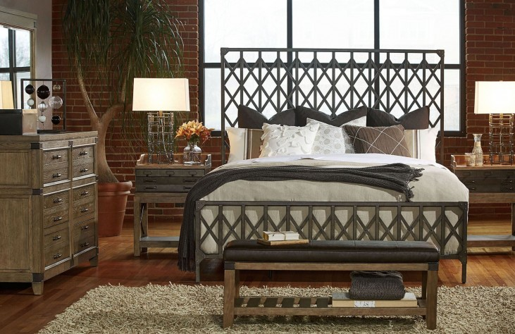 Metalworks Factory Chic Metal Panel Bedroom Set