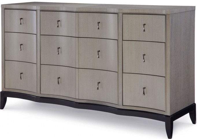 Symphony Platinum & Black Tie 9 Drawers Dresser