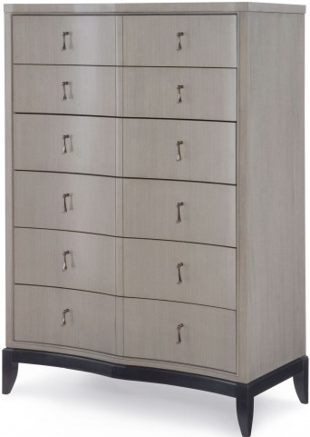 Symphony Platinum & Black Tie 6 Drawers Chest