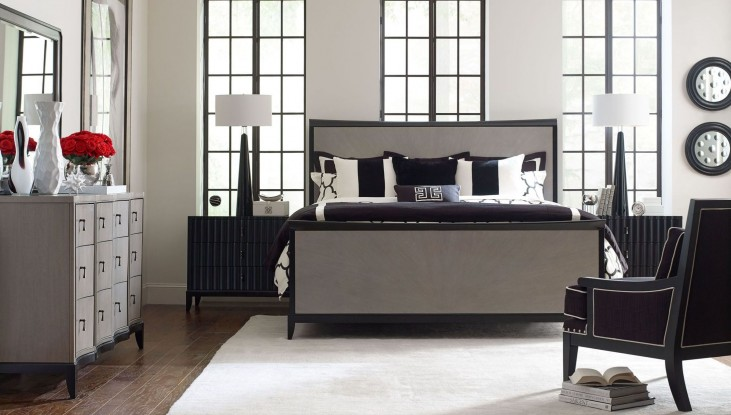 Symphony Platinum & Black Tie Panel Bedroom Set
