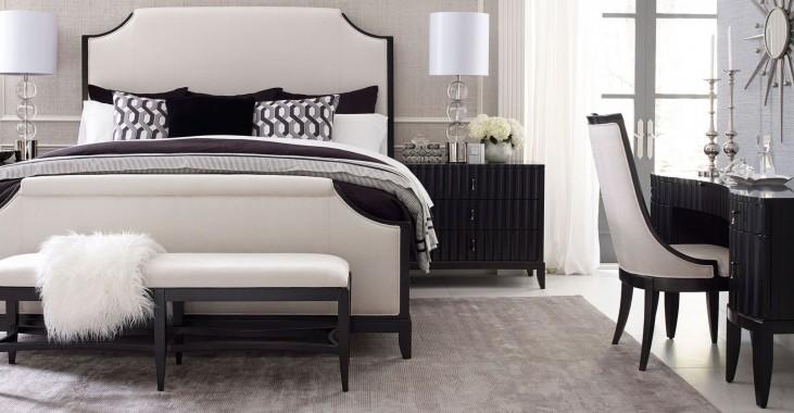 Symphony Platinum & Black Tie Upholstered Panel Bedroom Set
