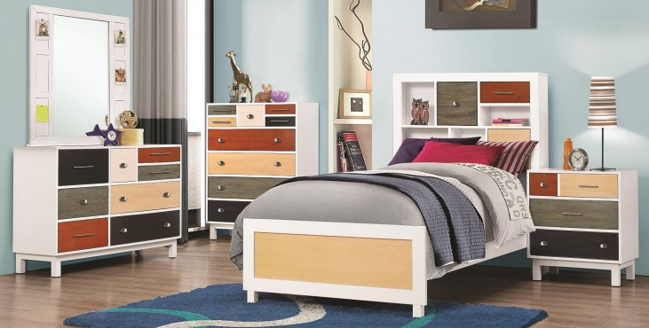 Lemoore Multi-Color Youth Bookcase Bedroom Set