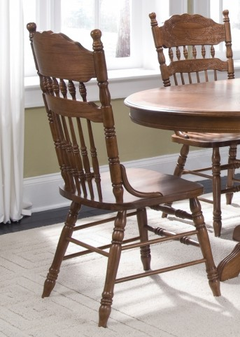 Old World Embossed Back Side Chair Set of 2