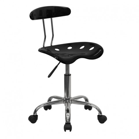 Vibrant Black and Chrome Computer Tractor Seat Task Chair