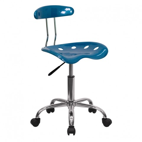 Vibrant Bright Blue and Chrome Computer Tractor Seat Task Chair