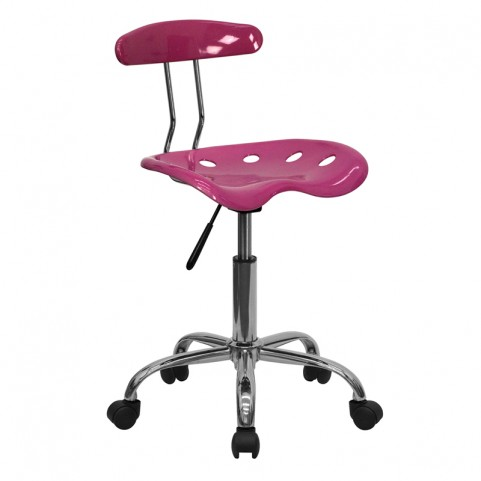 Vibrant Pink and Chrome Computer Tractor Seat Task Chair