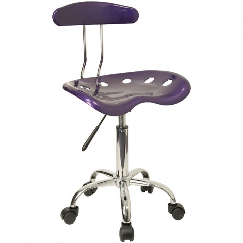 Vibrant Violet and Chrome Computer Tractor Seat Task Chair