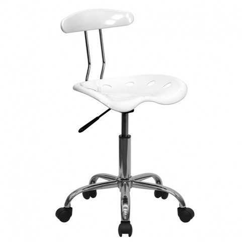 Vibrant White and Chrome Computer Tractor Seat Task Chair