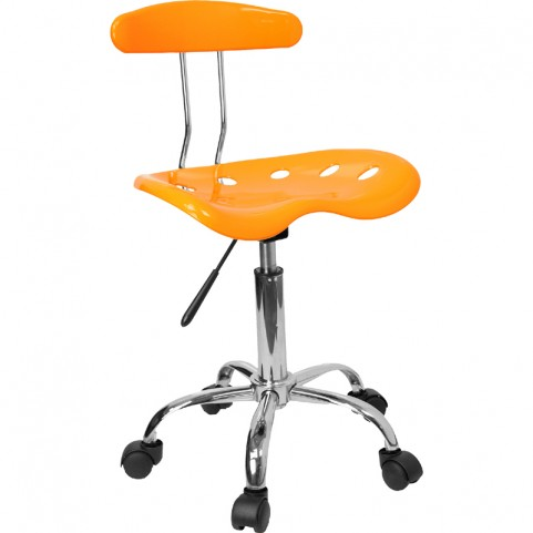 Vibrant Orange-Yellow and Chrome Computer Tractor Seat Task Chair