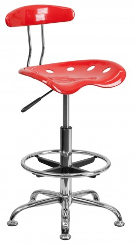 Cherry Tomato and Chrome Drafting Stool
