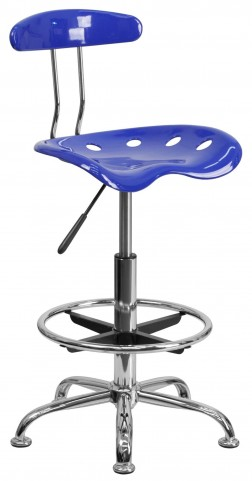 Nautical Blue and Chrome Drafting Stool