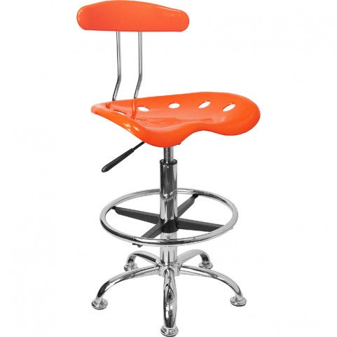 Vibrant Orange and Chrome Tractor Seat Drafting Stool