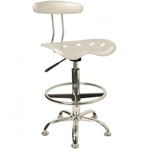Vibrant Silver and Chrome Tractor Seat Drafting Stool