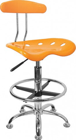 Vibrant Orange-Yellow and Chrome Tractor Seat Drafting Stool