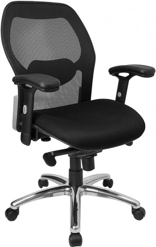 Mid-Back Office Chair in Black Fabric and Knee Tilt Control