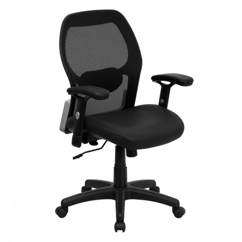 Mid-Back Super Office Chair with Black Italian Seat