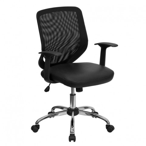 Mid-Back Black Office Chair with Back and Italian Seat