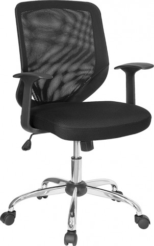 Mid-Back Black Office Chair with Fabric Seat