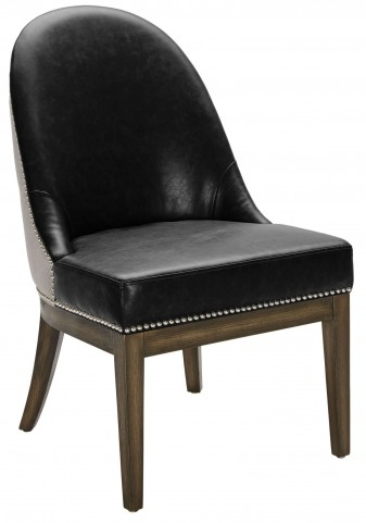Liana Black Leather and Silver Linen Fabric Dining Chair