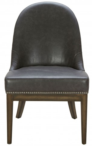 Liana Grey Leather and Silver Linen Fabric Dining Chair